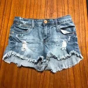 Almost famous distressed painted cutoff shorts